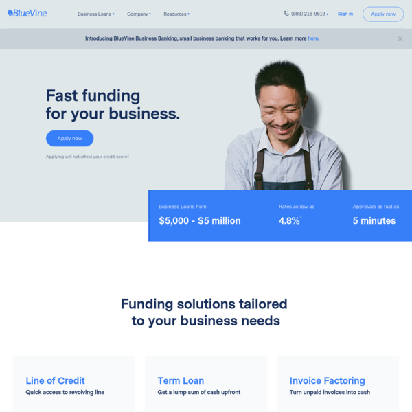 Business Loans, Line of Credit and Invoice Factoring | BlueVine