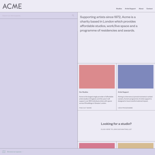 Acme | Supporting artists through affordable studios, housing, residencies and awards.
