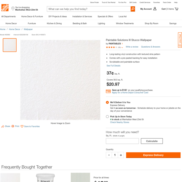 PAINTABLES Paintable Solutions III Stucco Wallpaper 93965 - The Home Depot