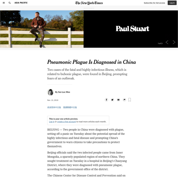 Pneumonic Plague Is Diagnosed in China