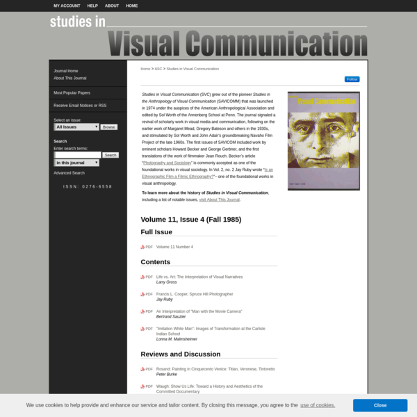 Studies in Visual Communication | Annenberg School for Communication | University of Pennsylvania