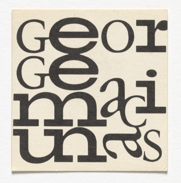George Maciunas, Name card for George Maciunas, c. 1964