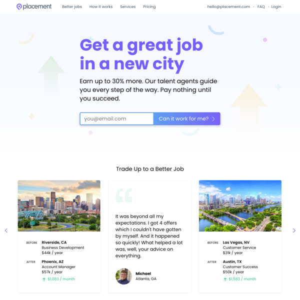 Placement - Get a great job in a new city