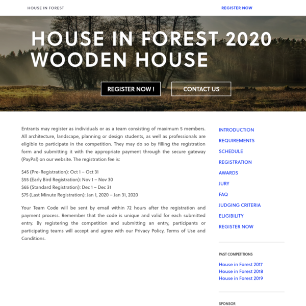 REGISTRATION - House in Forest 2020 - Wooden House