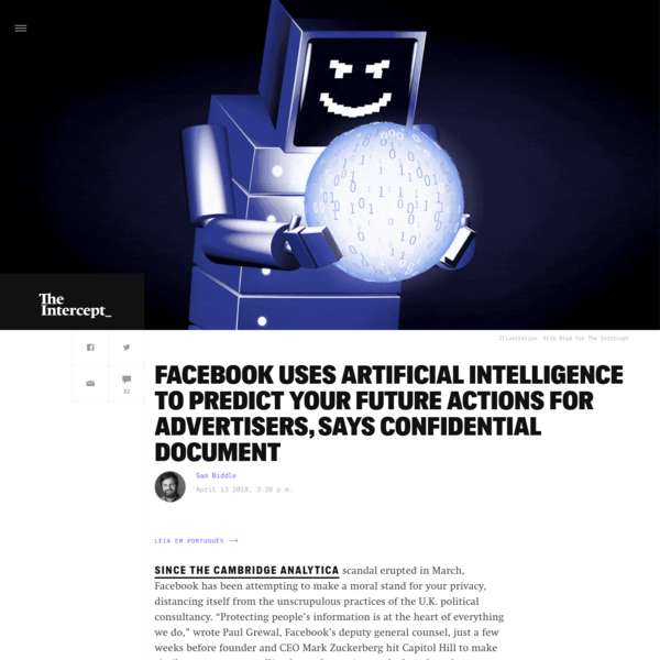 Facebook Uses Artificial Intelligence to Predict Your Future Actions for Advertisers, Says Confidential Document