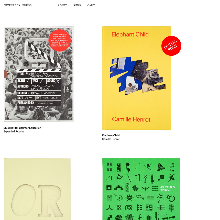 Inventory Press publishes books on topics in art, architecture, design, and music, with an emphasis on subcultures, minor histories, and the sociopolitical aspects of material culture.