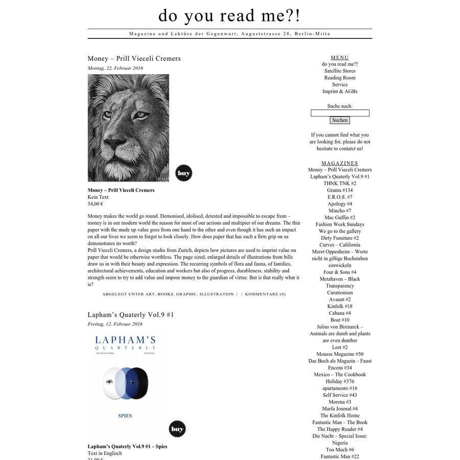 Magazine und Lektüre der Gegenwart, Auguststrasse 28, Berlin-Mitte