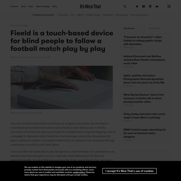 Fieeld is a touch-based device for blind people to follow a football match play by play