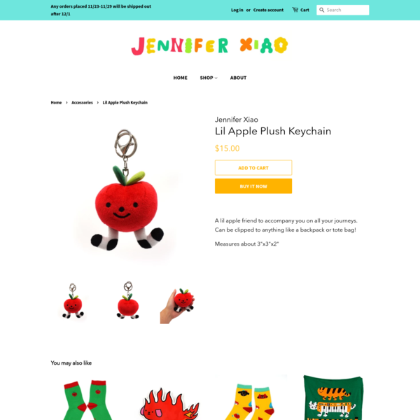 Lil Apple Plush Keychain – Jennifer Xiao