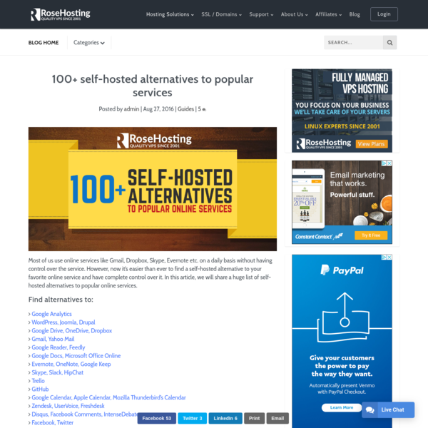100+ self-hosted alternatives to popular services | RoseHosting
