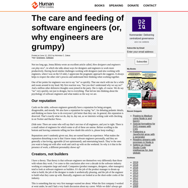 The care and feeding of software engineers (or, why engineers are grumpy)