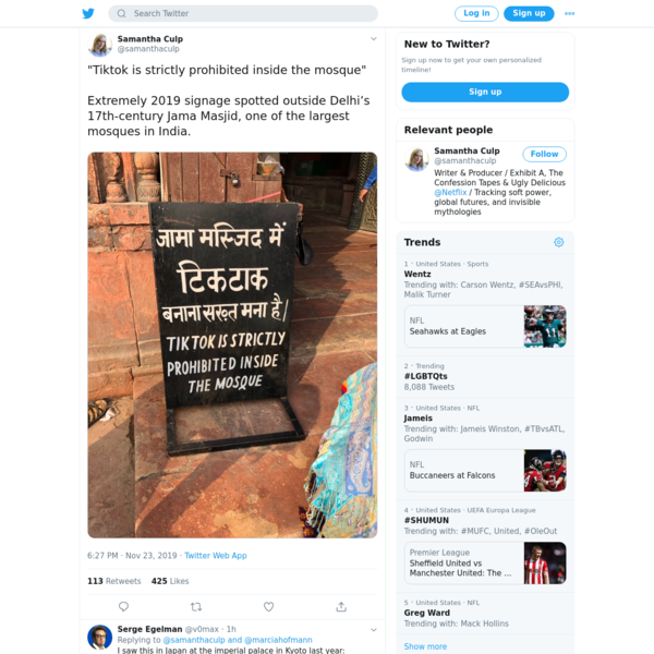 """Samantha Culp on Twitter: """"""""Tiktok is strictly prohibited inside the mosque"""" Extremely 2019 signage spotted outside Delhi's 17th-century Jama Masjid, one of the largest mosques in India. https://t.co/KQd3PudgZq"""" / Twitter"""