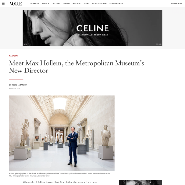 Meet Max Hollein, the Metropolitan Museum's New Director | Vogue