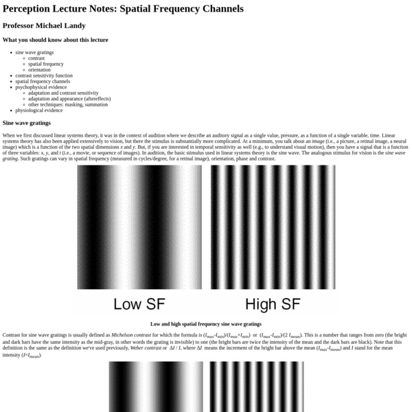 Perception Lecture Notes: Spatial Frequency Channels