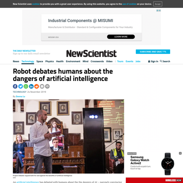 Robot debates humans about the dangers of artificial intelligence