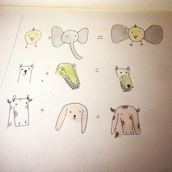 Estoy dando una clase de dibujos bobos y hoy hicimos este ejercicio de híbridos animales. Oso con coccodrillo es lobo verde ...