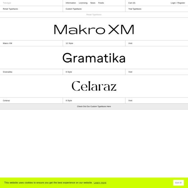 Tokotype - Retail Typefaces