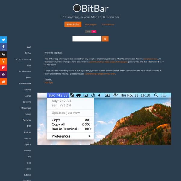 BitBar - Put anything in your Mac OS X menu bar