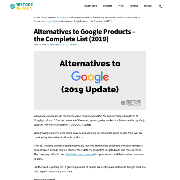 Alternatives to Google Products (Complete List) | Restore Privacy