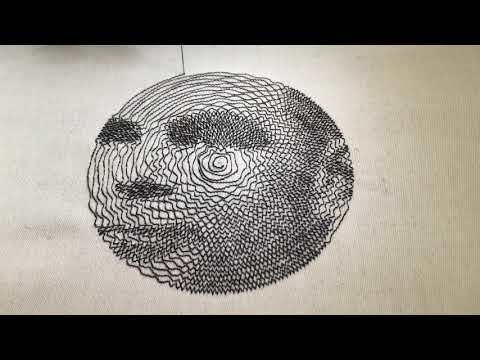 Embroidered portrait of Alan Turing with a single thread