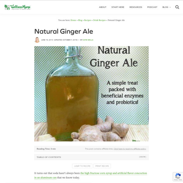 How to Make Healthy Ginger Ale | Wellness Mama