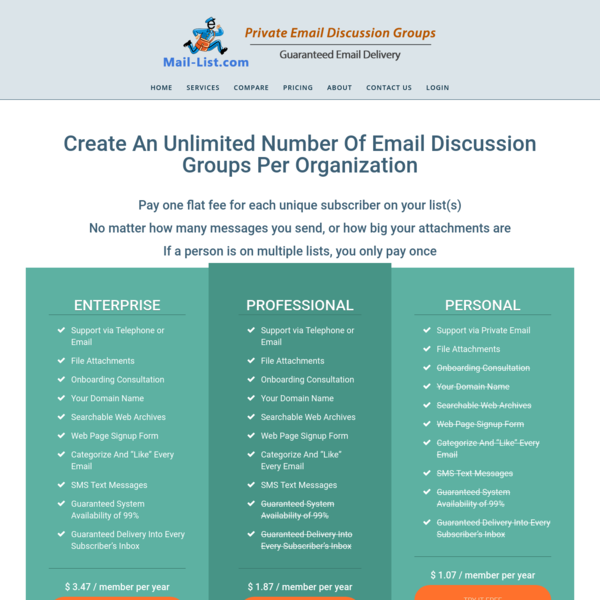 Listserv Hosting Pricing : Mail-List - Private Email Discussion Groups