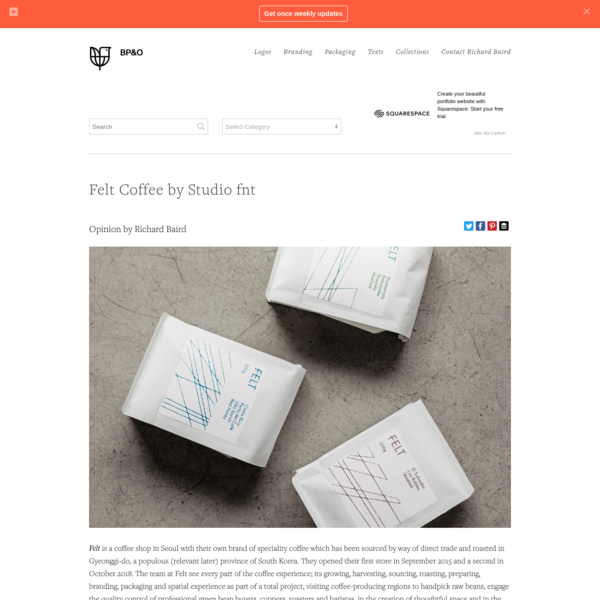 New Packaging for Felt Coffee by Studio fnt - BP&O