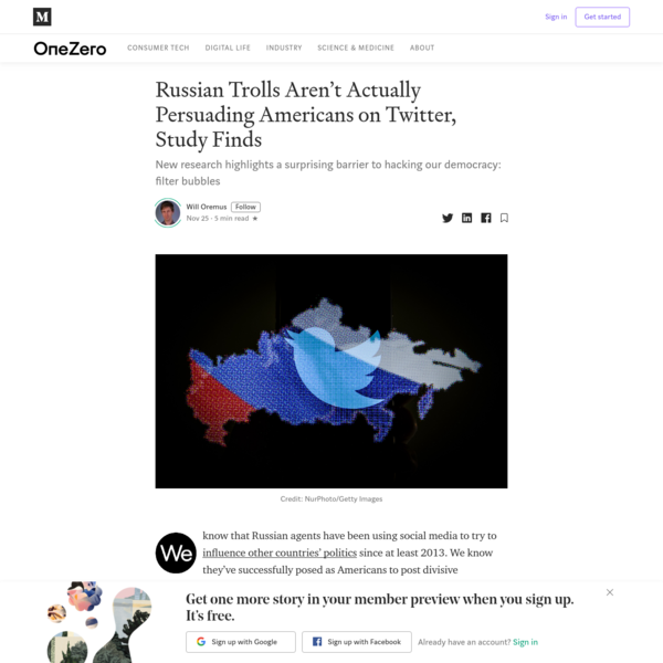 Russian Trolls Aren't Actually Persuading Americans on Twitter, Study Finds
