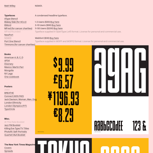 NSW01 Typeface * - Matt Willey