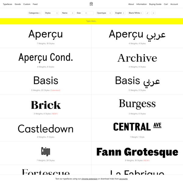 Typefaces - Colophon Foundry