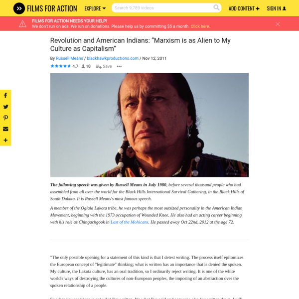 """Revolution and American Indians: """"Marxism is as Alien to My Culture as Capitalism"""""""