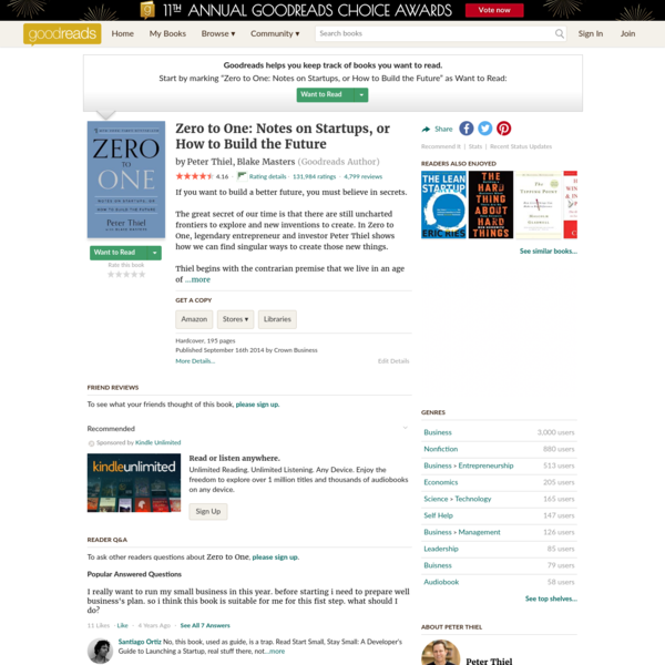 Zero to One: Notes on Startups, or How to Build the Future by Peter Thiel