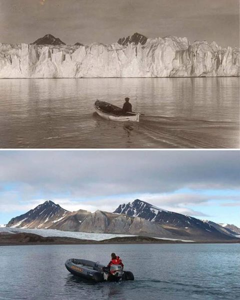 This is the truth about the #10YearChallenge. This is the Arctic - 100 years ago, and today. . 📸: Christian Åslund and Norsk...