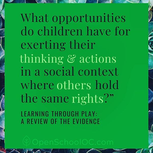 """What opportunities do children have for exerting their thinking and actions in a social context where others hold the same rights?"" - Leaning Through Play: A Review of The Evidence"