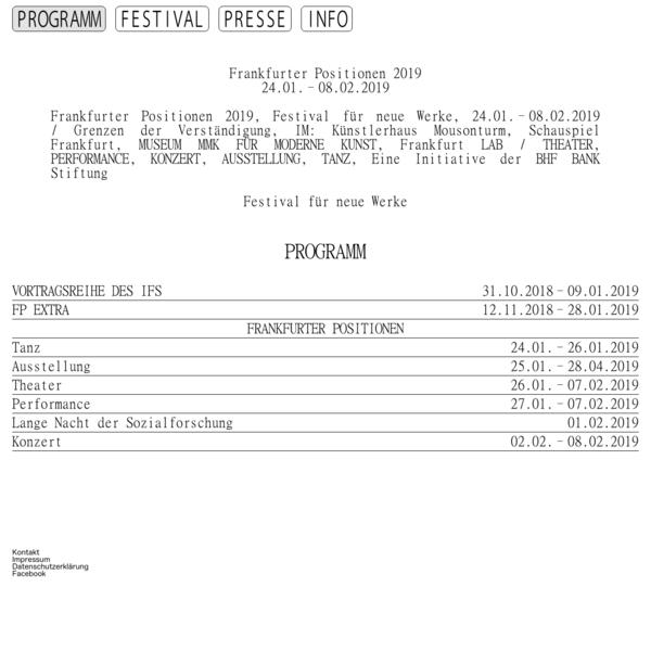 Frankfurter Positionen 2019