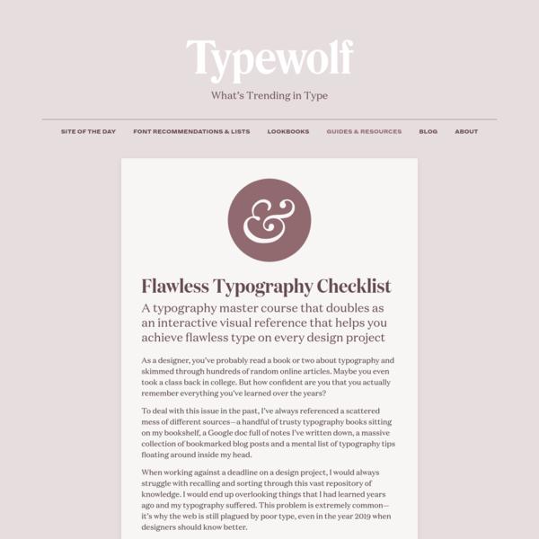 Flawless Typography Checklist · Typewolf