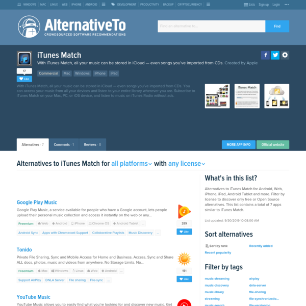 iTunes Match Alternatives and Similar Software - AlternativeTo.net
