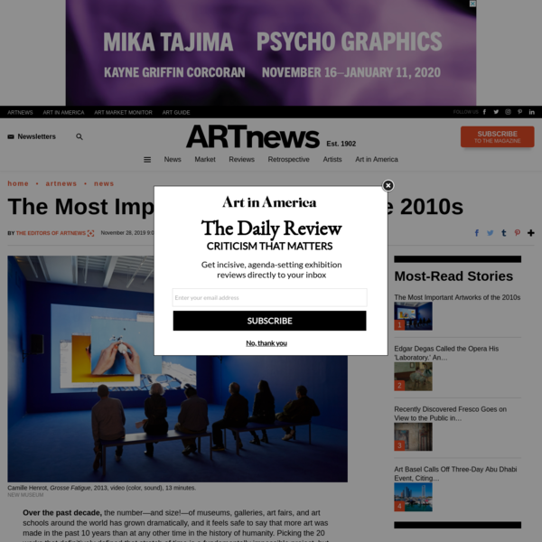 The Most Important Artworks of the 2010s – ARTnews.com