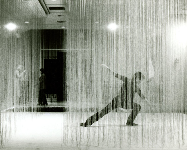 Lenore Tawney, Four-Armed Cloud, 1979, Pictured with dancer Andy de Groat at the New Jersey State Museum
