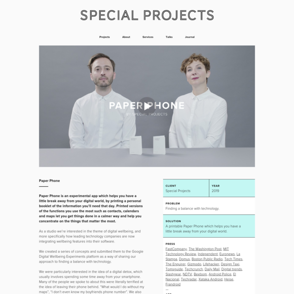 Special Projects - Special Projects | Paper Phone