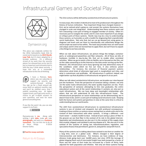 Dymaxion: Infrastructural Games and Societal Play