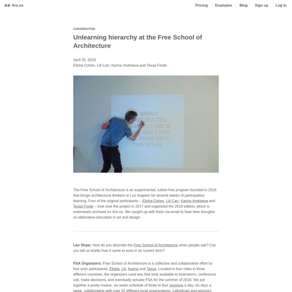 Are.na / Unlearning hierarchy at the Free School of Architecture