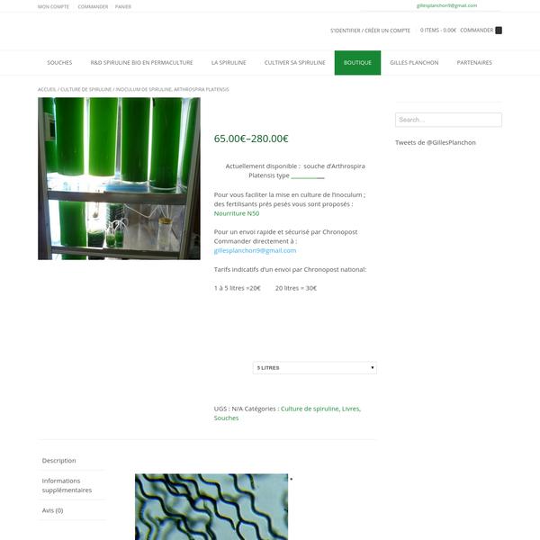 Inoculum de spiruline, Arthrospira Platensis - Spirulina Solutions