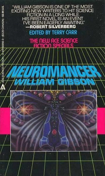 """Gibson, William, _Neuromancer_ (New York: Ace, 1984).   Cover illustration by Rick Berry. According to [Wikipedia](http://en.wikipedia.org/wiki/Neuromancer), this was the world's first """"digitally painted"""" book cover."""