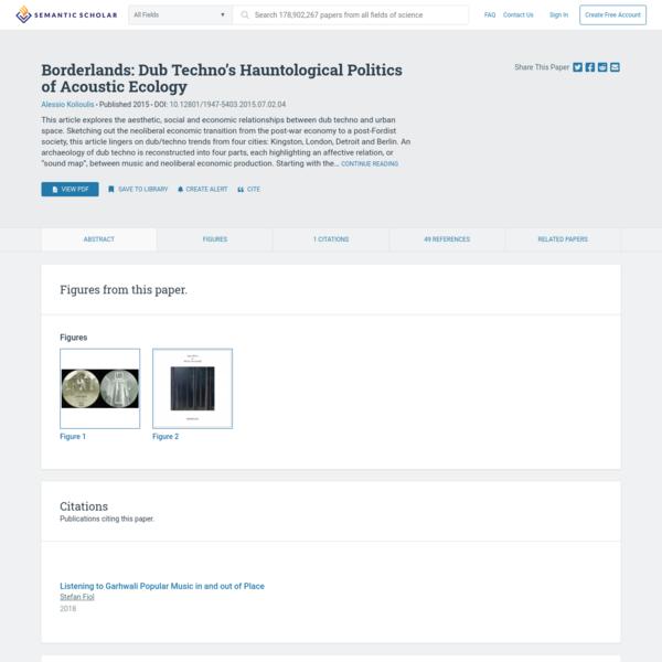[PDF] Borderlands: Dub Techno's Hauntological Politics of Acoustic Ecology | Semantic Scholar