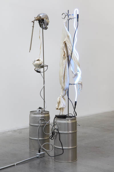 "Elaine Cameron-Weir, ""Vault"" (left) and ""Lamp with Garment"" (right), 2017"
