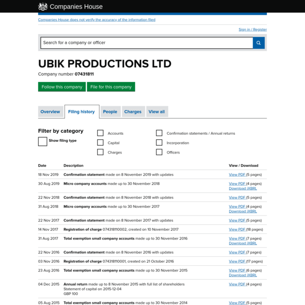 UBIK PRODUCTIONS LTD - Filing history (free information from Companies House)