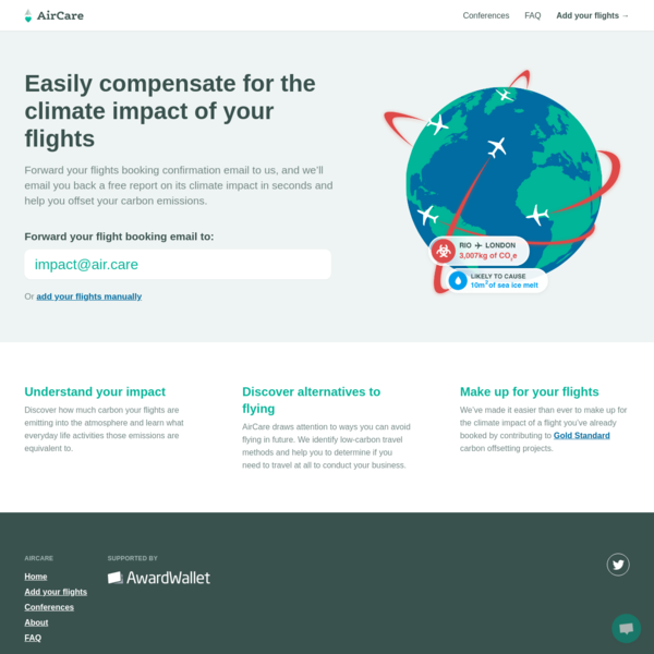 Discover the climate impact of flying with AirCare
