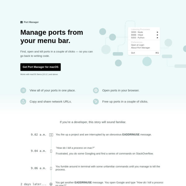 Port Manager for Mac — Manage ports from your menu bar