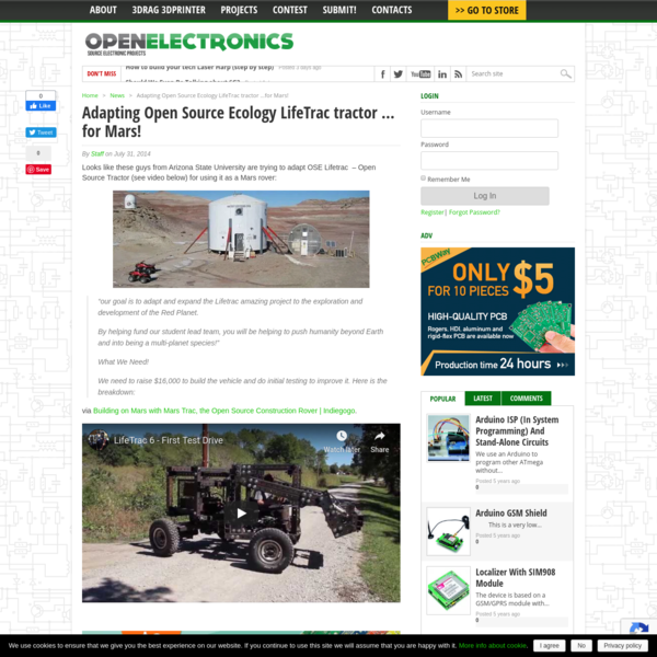 Adapting Open Source Ecology LifeTrac tractor ...for Mars! - Open Electronics